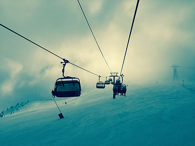 white, cable car, snow field, snow, winter, lift
