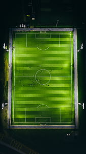 bird's-eye view photography of football field