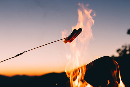 shallow focus photography of two burning sausages