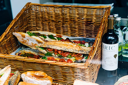 Clubhouse Sandwich on Brown Woven Basket