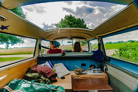 two women inside van