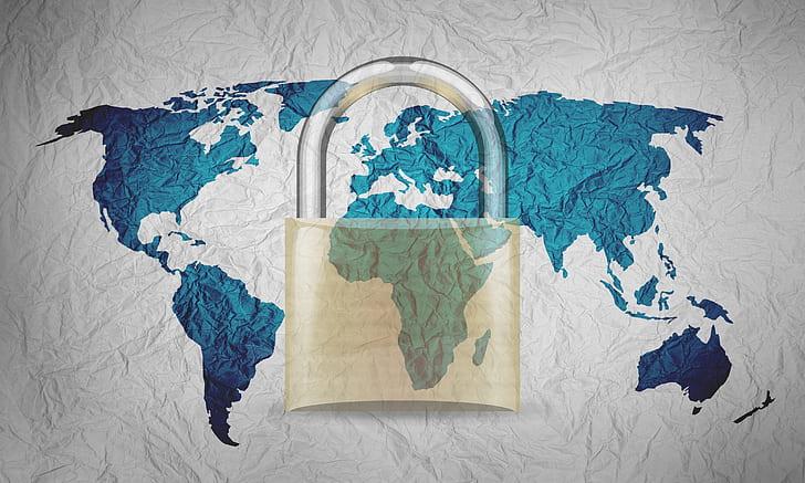 world map with padlock digital paper