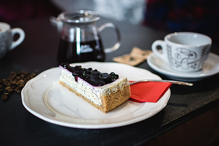 Cheesecake with poppy seed and blueberries