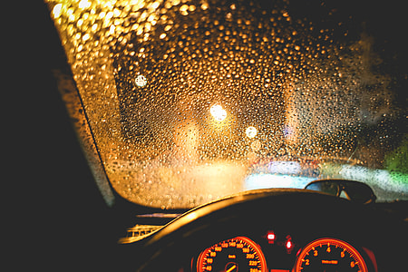 Rainy View From The Car At Night