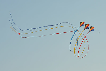 three black-yellow-and-orange kites