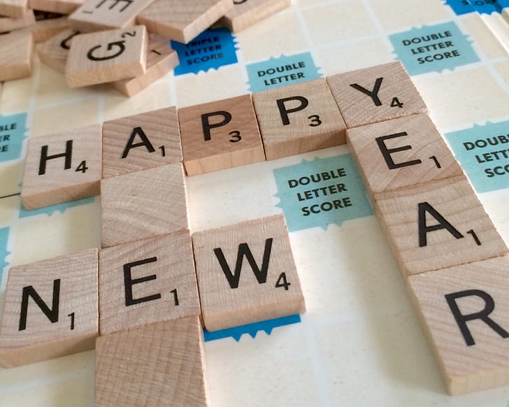 brown scrabble blocks happy new year