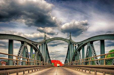 teal steel bridge