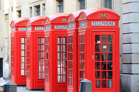 four telephone booths