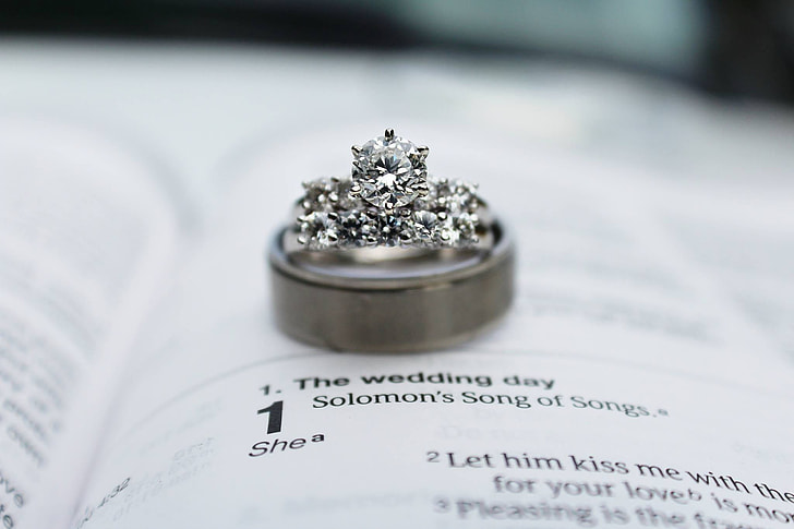 silver-colored band ring on top of white book with The Wedding Day song lyrics