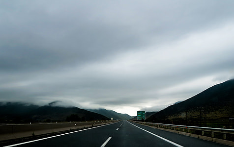panoramic view of road under the cloudy sky