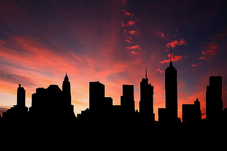 silhouette photo of skyscrapers