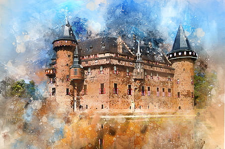 brown castle painting