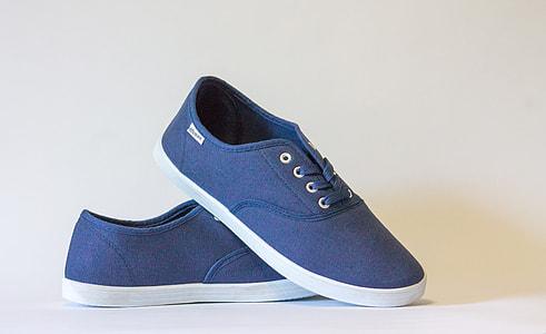 pair of blue low-tops