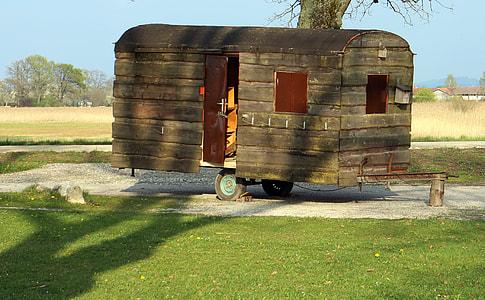 brown wooden trailer