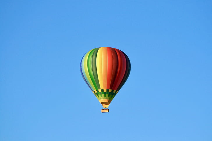 flying, hot air balloon, flight, balloon, rainbow balloon, air