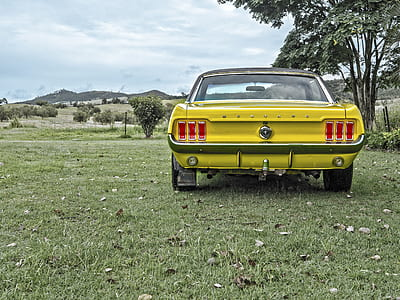 photography of classic yellow Ford Mustang