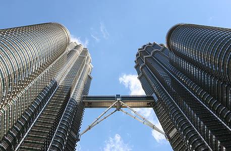 Worm Eye Image of Twin Tower