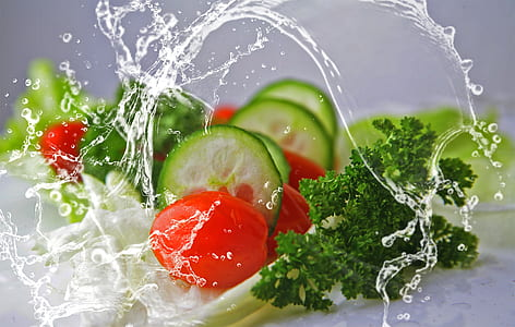 green cucumber and red tomatoes