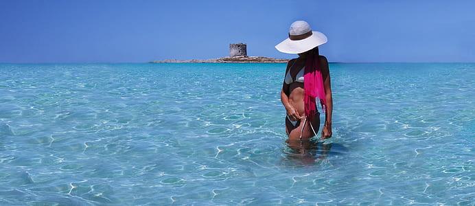 woman wearing white bikini on body of water
