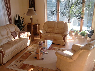 brown couch near loveseat and coffee table