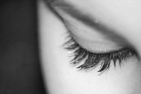 grayscale photography of person's eyelashes