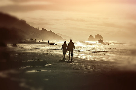 two person walking on beach during daytime