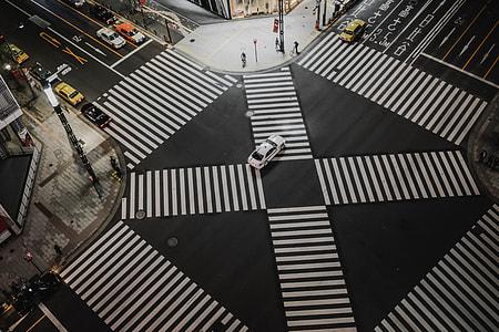 high angle photo of pedestrian lanes