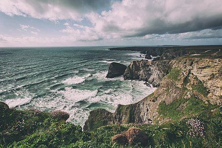 Landscape shot taken from the top the cliffs on the Cornwall, England