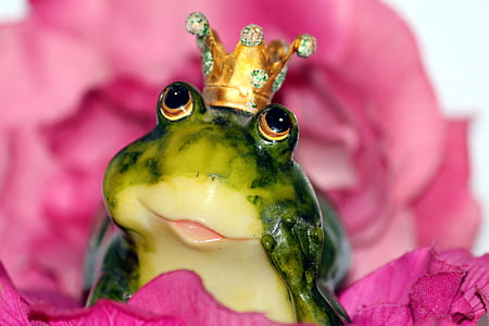 green ceramic frog with crown figure