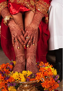 woman hand floral henna tattoo