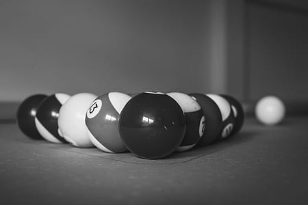 Greyscale Photo of Billiard Balls