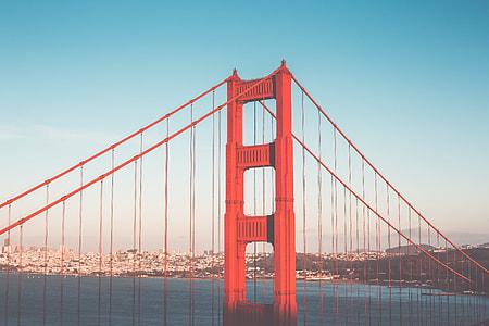 Pillar of Golden Gate Bridge in San Francisco Vintage Edit