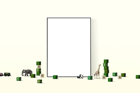 white board with small green cubes