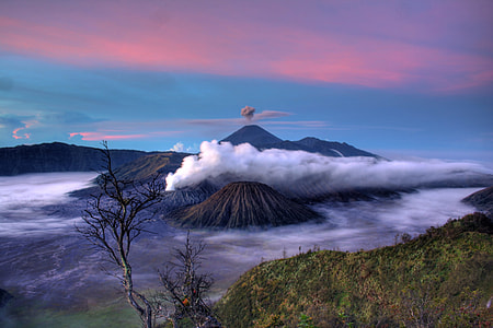brown and blue volcanos photo