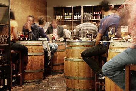 brown wooden barrel tables inside room