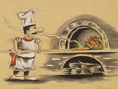 painting of chef cooking pizza