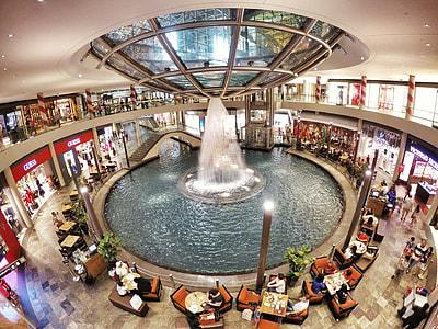round water fountain inside restaurant