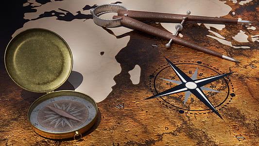 navigational tool on brown surface