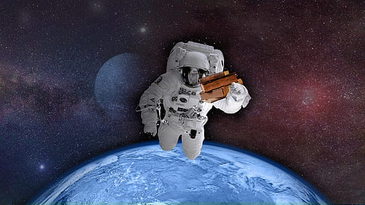 illustration of person in space