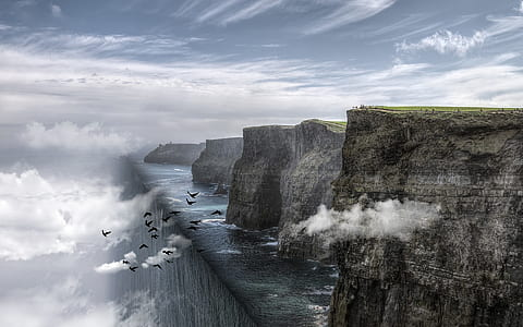 cliff, ocean, fantasy