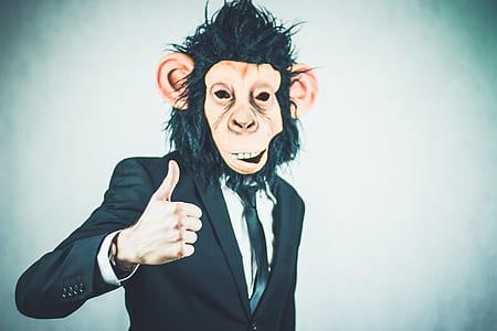 man wearing monkey mask