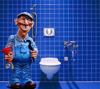 animated plumber near toilet bowl art