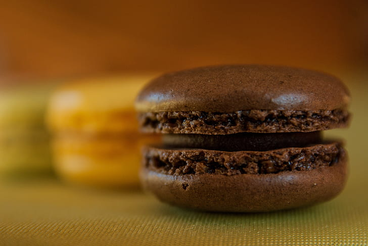 closeup photo of chocolate macrons
