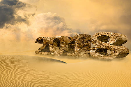 2018 rock formation on desert digital wallpaper