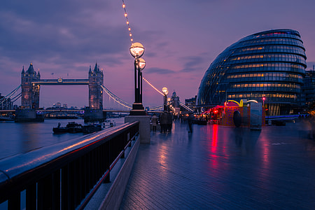 City Hall and Tower Bridge at sunset in London