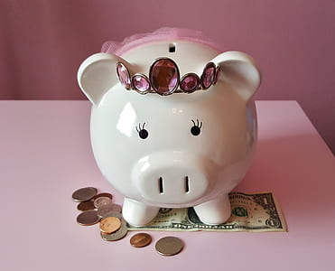 white ceramic piggy coin bank sitting on 1 US dollar banknote with coins