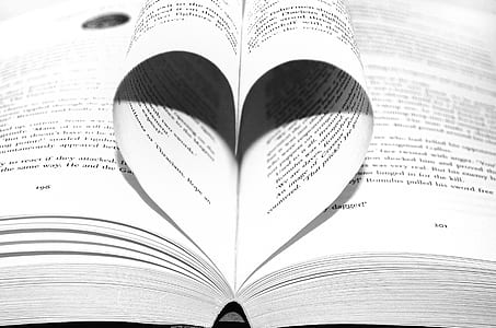 book page folded in heart shape