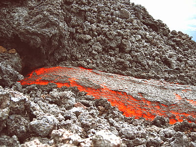 lava on gray rocks
