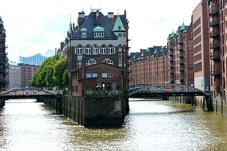 brown building surrounded with water