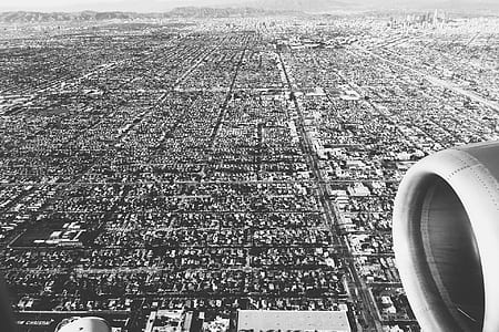 grayscale photography of aerial